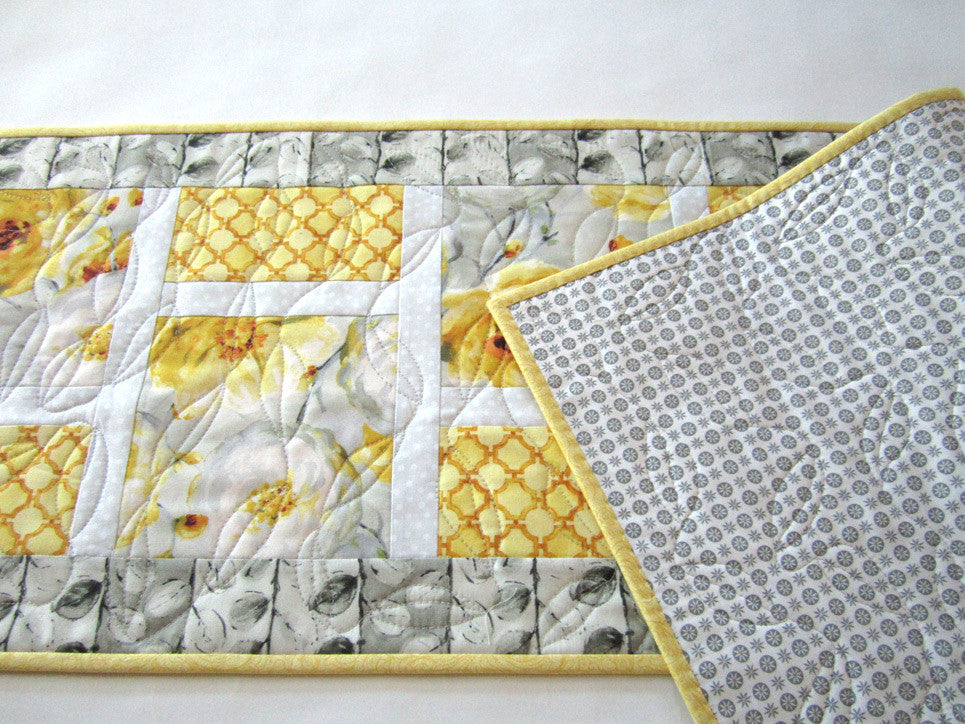 ... Floral Spring Table Runner With Yellow And Gray ...
