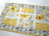 Floral Spring Table Runner with Yellow and Gray