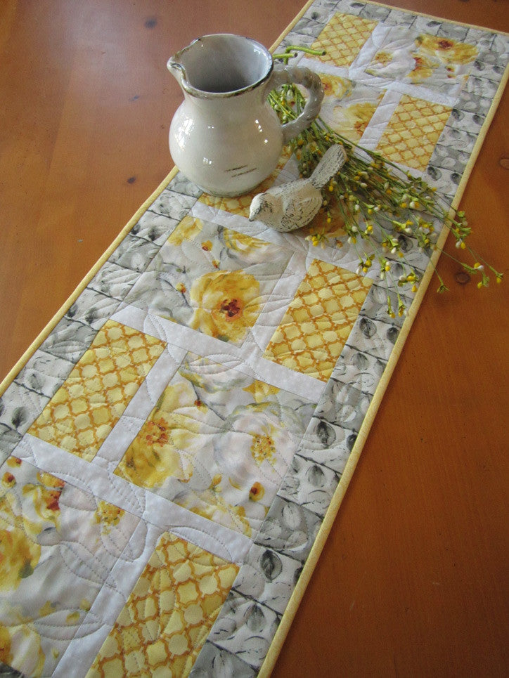 ... Floral Spring Table Runner With Yellow And Gray