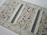 Quilted Table Runner with Birds in Neutral Colors