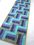Quilted Table Runner in Blue and Purple
