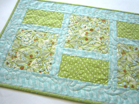 Blue and Green Spring Table Runner