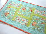 Quilted Table Runner with Peach Coral Flowers