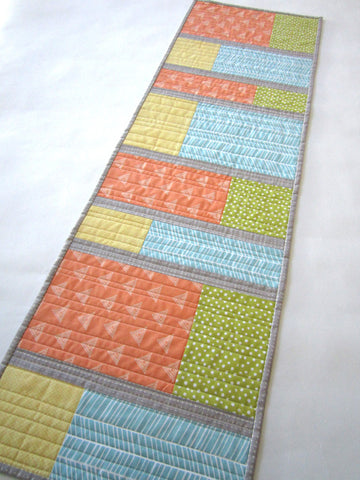 Modern Geometric Table Runner in Spring Colors