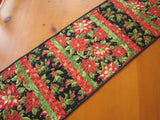 Table Runner Christmas Poinsettias and Holly