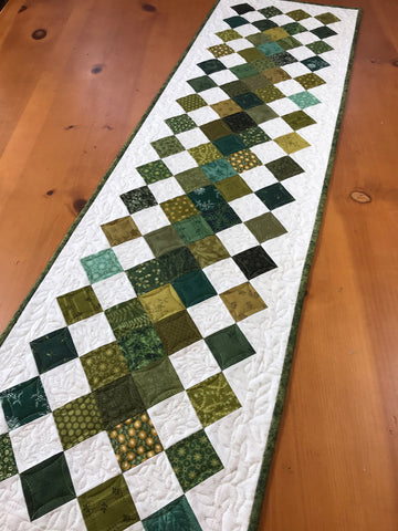Table Runner Green Quilted Home Decor