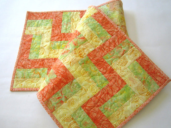 Batik Quilted Table Runner in Orange, Yellow and Green