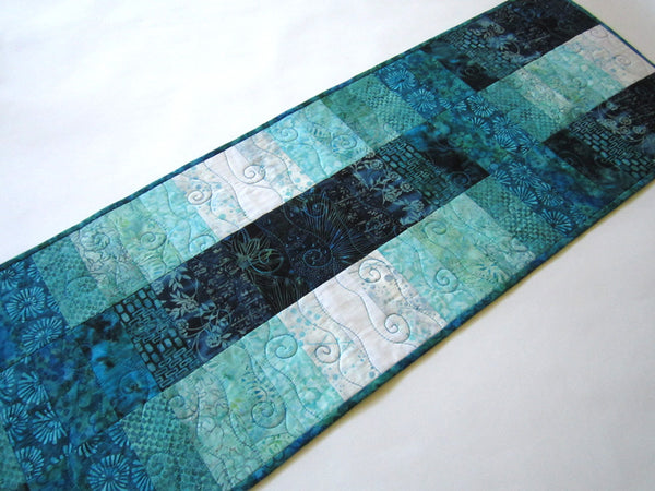 Batik Table Runner in Blues