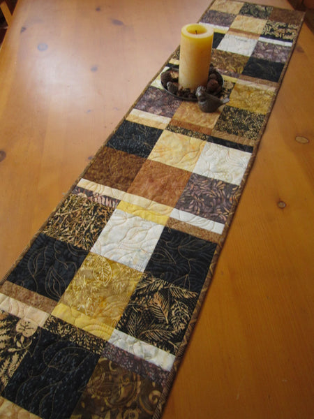 Brown Black And Gold Batik Table Runner Patchwork Mountain