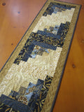 Blue Table Runner using Log Cabin Block