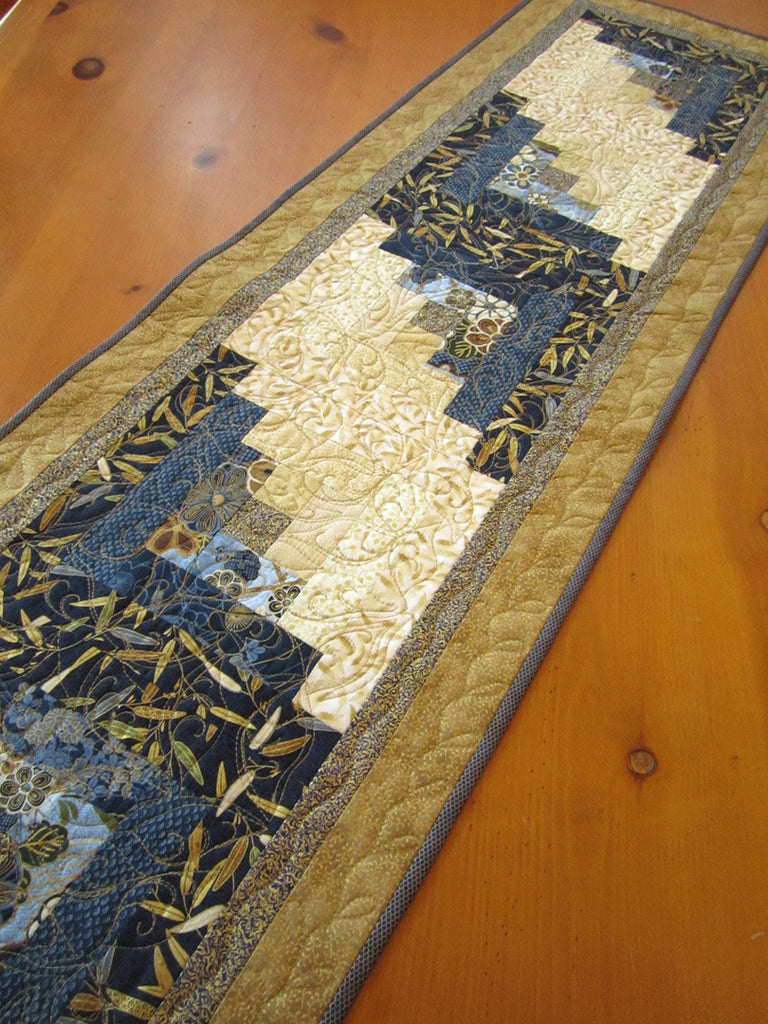 ... Blue And Gold Quilted Table Runner With Asian Accent ...
