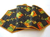 Table Runner Leaves Quilted Handmade Home Decor Orange Gold and Green Table Runner