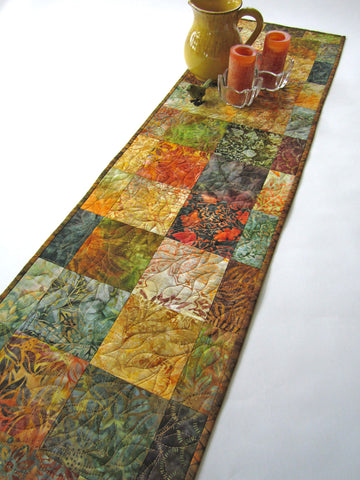 Fall Quilted Batik Table Runner