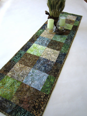 Batik Table Runner in Blue, Green and Brown