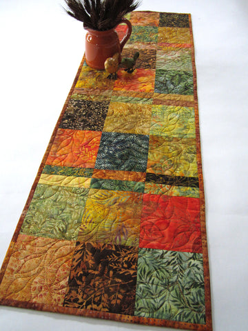 Batik Fall Quilted Table Runner
