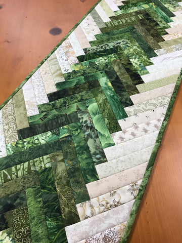 Green Table Runner Braided Design