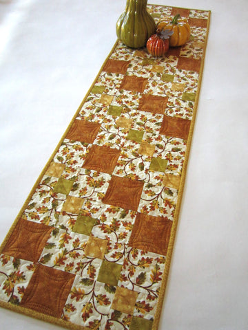Fall Quilted Table Runner with Oak Leaves
