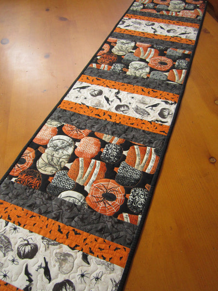 Halloween Quilted Table Runner With Pumpkin Bats And