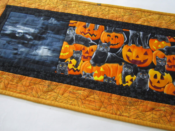 Quilted Halloween Table Runner with Cats and Pumpkins