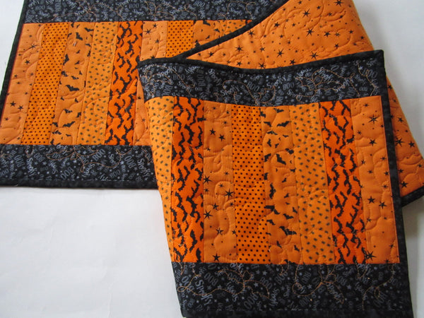 Black and Orange Halloween Quilted Table Runner