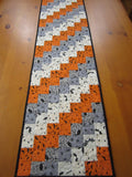Quilted Halloween Table Runner in Gray and Orange with Bats, Owls and Spiders