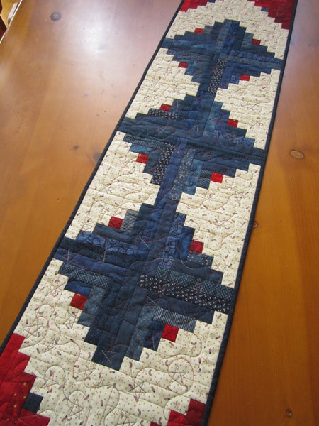 Quilted Patriotic Table Runner Red and Blue