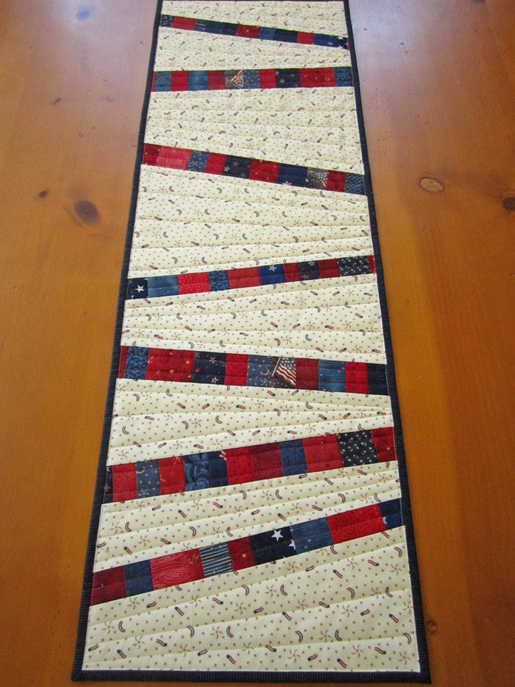 ... Patriotic Quilted Table Runner, Modern Table Runner ...