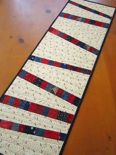 Patriotic Quilted Table Runner Modern Table Runner