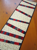 Patriotic Quilted Table Runner, Modern Table Runner