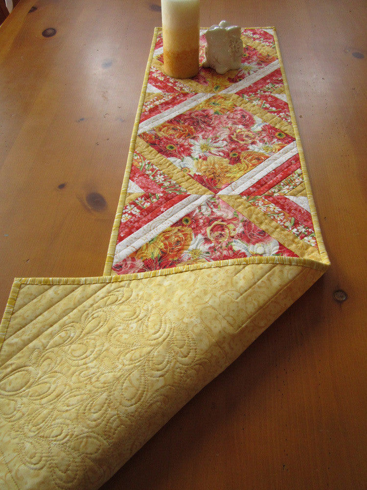 ... Spring Table Runner, Handmade Quilted Floral Table Runner ...