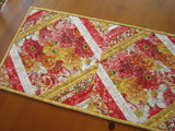 Spring Table Runner, Handmade Quilted Floral Table Runner