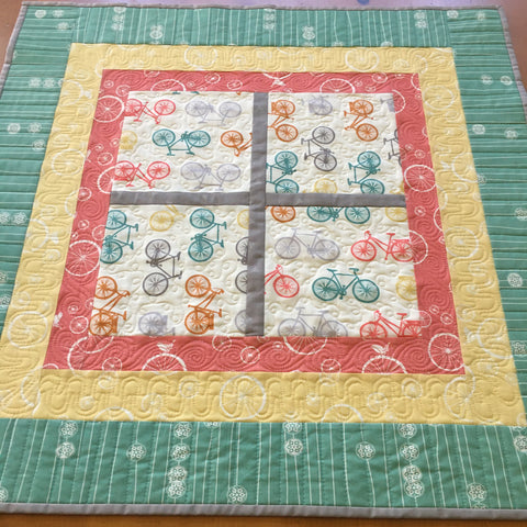 Table Topper Bicycles Quilted Home Decor