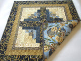 Blue and Gold Table Topper with Asian Accent