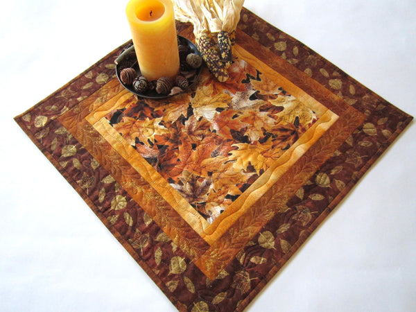 Table Topper with Fall Leaves