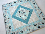 Aqua Floral Quilted Table Topper