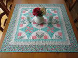 Modern Quilted Table Topper in Aqua, Gray and Pink