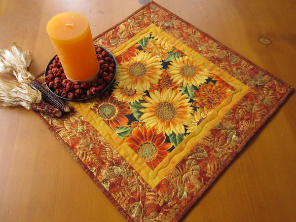 Table Topper with Fall Flowers