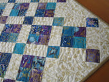Quilted Table Topper in Blue, Turquoise and Purple