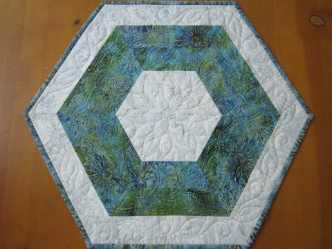 Hexagon Batik Table Topper Table Mat