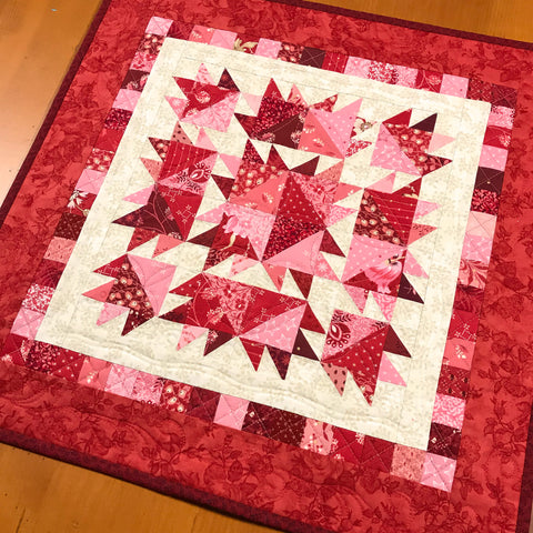Table Topper Pink and Red Quilted Square Valentine's Day