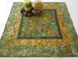 Batik Table Runner with Green and Gold Colors