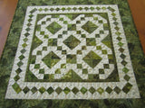 Handmade Quilted Table Square Green Leaves
