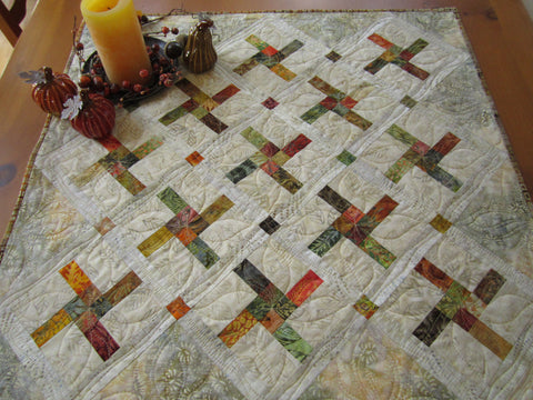 Table Topper Autumn Colors Batik Fall Decor