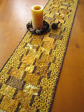 Gold and Brown Table Runner with Sunflowers Border