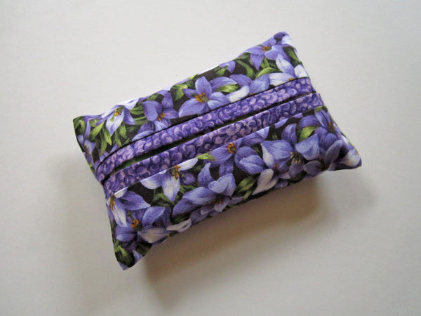 Pocket Tissue Holder with Purple Flowers