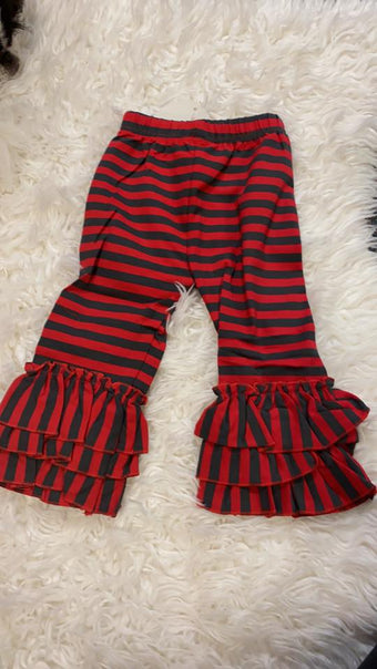 Girls Dark Grey and Red Ruffle Pants