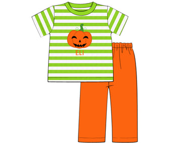 Boys Lime Green Stripe Jack O Lantern Pant Set