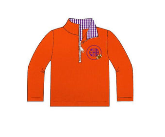 Boys Orange Knit Pullover with Purple Gingham Collar