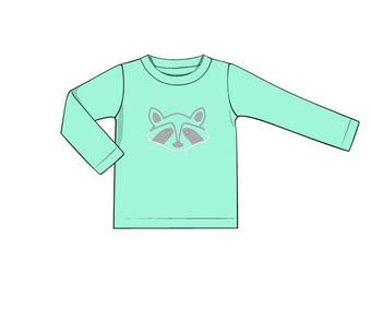 Boys Mint Knit Raccoon Applique Shirt
