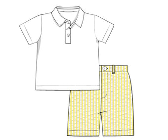 Boys Yellow Seersucker SHORTS ONLY